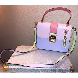 NWOT color block Satchel w/ cross body strap